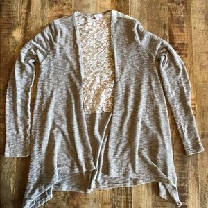 Open front cardigan with back lace detail